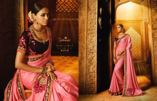 Pink Saree With Contrast Blouse