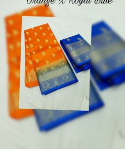Orange and royal blue color Kanchipuram saree