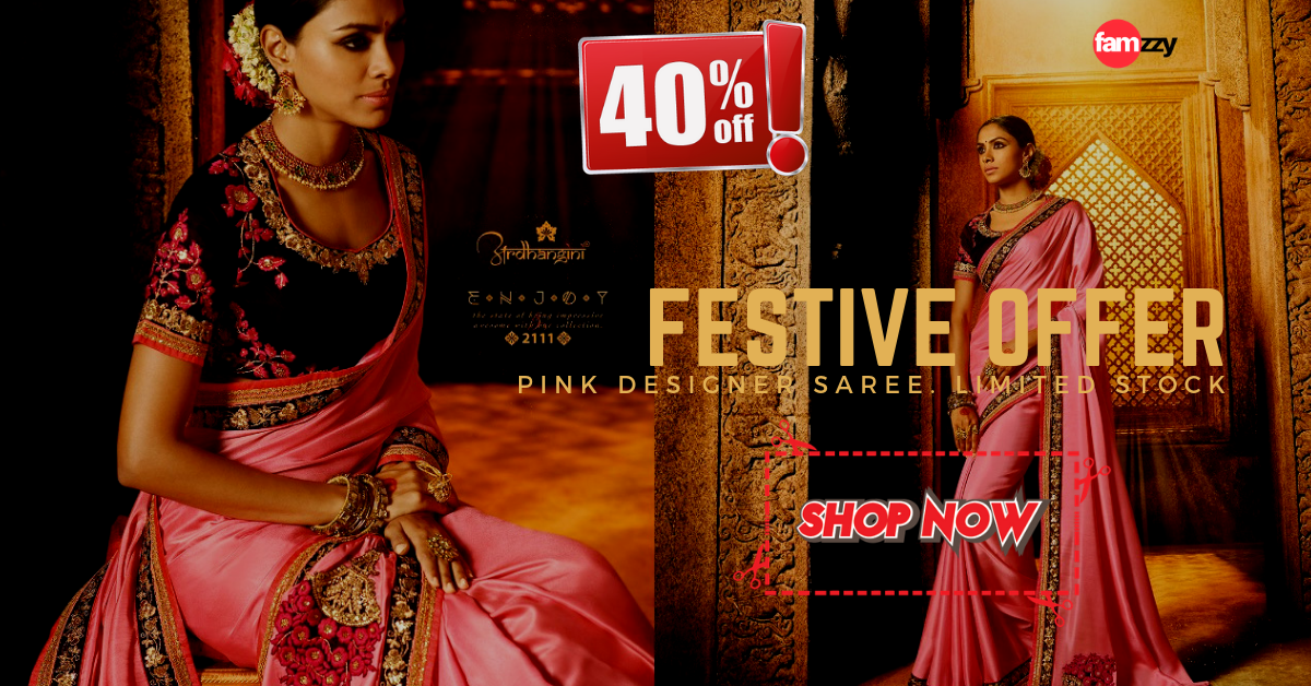 Pink saree with 40% discount from Famzzy